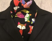Four Fold Stock Tie, Foxhunting Traditional Stock Tie, Horse Show Stock Tie, Unique and Fun!! Funky Colorful Foxes!