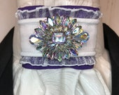 Sparkly White Ribbon w Purple Trim, White with Pearl Metallic Cotton Stock Tie Pin Included, Dressage Stock Tie, Eventing Stock Tie
