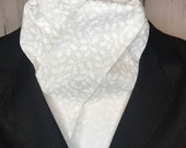 74 inch White on White Tonal Holly Leaves Four Fold Stock Tie, Formal White Stock Tie, Traditional Foxhunting Stock Tie