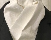 White Four Fold Stock Tie, Formal White Stock Tie, Traditional Foxhunting Stock Tie, White tone on tone Wavy Swirl