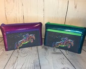 Colorful Jumper Horse Wristlet purse with front zip pocket, Equestrian double zipper pouch, clutch purse