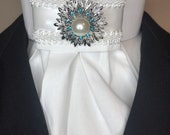 White Satin White braid trim on White Cotton Stock Tie, Premium Bling Stock Pin, Dressage Stock Tie, Eventing Stock Tie, horse show tie