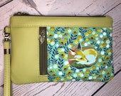 Wristlet purse with vertical front zip pocket, rare out of print fox and floral fabric with antique brass hardware, chartreuse faux leather