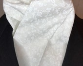 White on White Tonal Floral Four Fold Stock Tie, Mens or Womens Formal White Stock Tie, Traditional Foxhunting Stock Tie