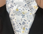 Four Fold Stock Tie with foxes stars and moons in blue and yellow on white, Foxhunting Traditional Stock Tie
