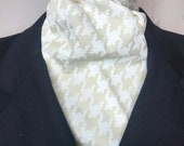 73 inch Large White Houndstooth Printed on Beige Four Fold Stock Tie, Formal White Stock Tie, Traditional Foxhunting Stock Tie