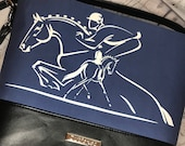 Shoulder Handbag Tote with Event Horse and Rider on Blue, jumping horse and dressage horse. Black faux leather.