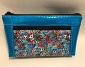 Zipper pouch with front zip pocket, Merponies. Mermaid Ponies with BLUE Rainbow Glitter Vinyl,  Double zipper clutch purse