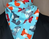 Fun Cute Foxes on light blue Four Fold Stock Tie, Foxhunting Traditional Stock Tie, Horse Show Stock Tie