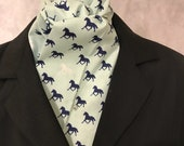 Four Fold Stock Tie, Foxhunting Traditional Stock Tie, Horse Show Stock Tie, Mint green with Navy and White Galloping Horses
