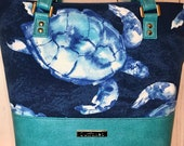 Shoulder Handbag Tote with Sea Turtles and turquoise blue faux leather, Waterproof canvas lining, silver hardware