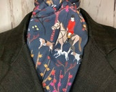 Four Fold Stock Tie, Foxhunting Traditional Stock Tie, foxhunter on chestnut and hounds