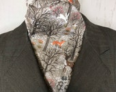 TAUPE winter woodland scene - Four Fold Stock Tie Foxhunting Traditional Stock Tie Horse Show Unique and Fun!!