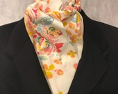 Four Fold Stock Tie, Traditional Foxhunting Stock Tie, Horse Show Stock Tie, Gorgeous Designer Modern Floral