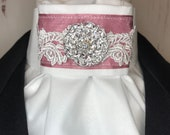 Rose Satin Ribbon with Lace Trim and Organza on White Stock Tie Pin Included, Dressage Stock Tie, Eventing Stock Tie, Horse Show