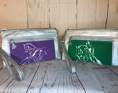 Eventing Dressage Jumping Horse Wristlet purse with front zip pocket, Equestrian double zipper pouch, wristlet clutch purse