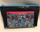 Zipper pouch with front zip pocket, Merponies. Mermaid Ponies with black and silver Glitter Vinyl,  Double zipper clutch purse