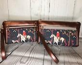 Wristlet purse with front zip pocket, double zipper pouch, foxhunt scene with hounds, metallic copper vinyl, clutch purse