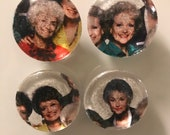 Fabric and Glass Magnet - sophia blanche rose and dorothy - set of four 1 1/8th inch diameter