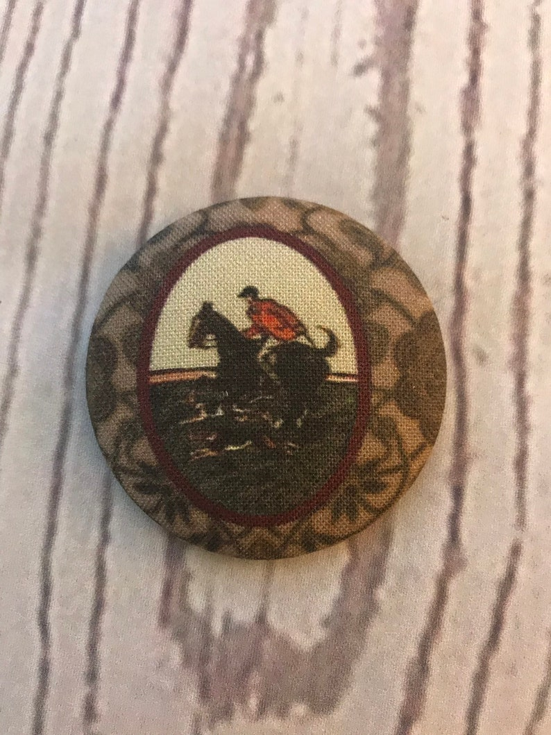 ONE Fabric covered button magnets foxhunt horse and rider and image 0