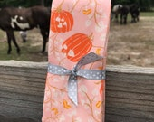 Four Fold Stock Tie, Foxhunting Traditional Stock Tie, Horse Show Stock Tie, Pumpkins on Pink, modern fall, Art Gallery