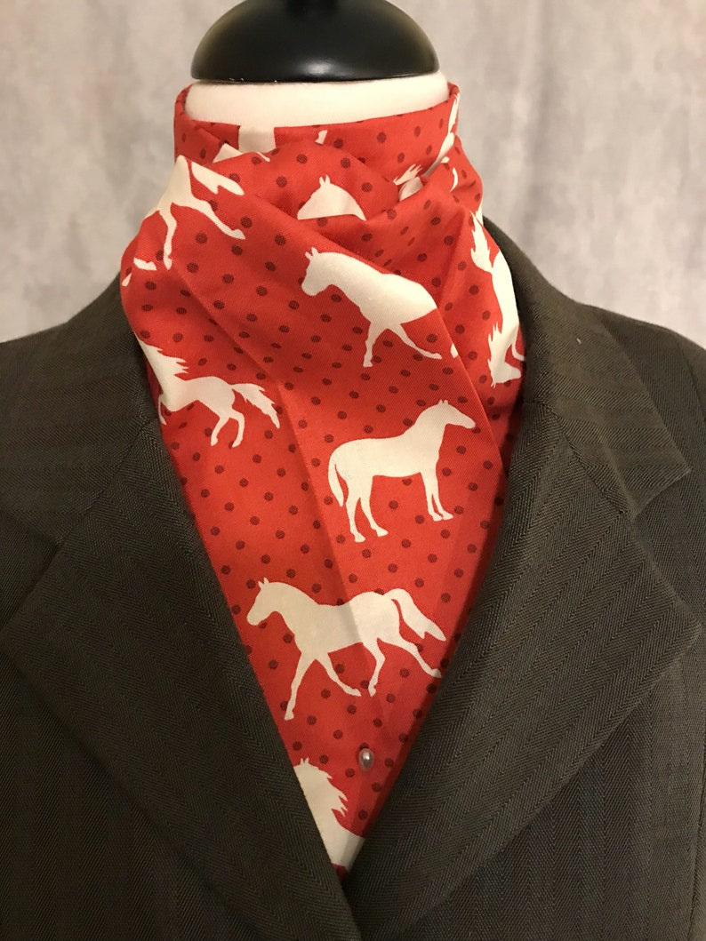 Four Fold Stock Tie Cream Horses on Red Rust Dots Foxhunting image 0
