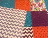 Modern Baby Quilt, Elephants and Bright Colors Quilt with Violet Thread, Gender Neutral Quilt, Crib Quilt, Homemade Quilt, Nursery Handmade