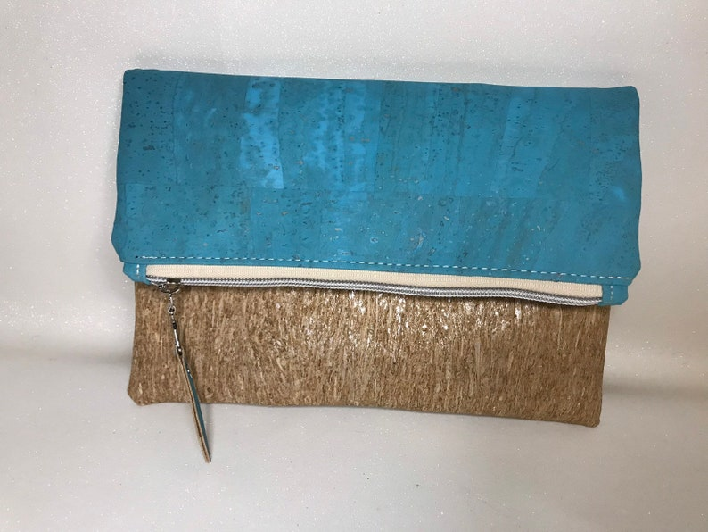 Aqua Blue Cork and natural grain cork foldover clutch image 0
