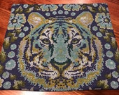 Mug Rug with Blue and Green Tiger, Large Coaster for mugs and snacks, low carbon footprint, green living