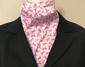 Four Fold Stock Tie, Foxhunting Traditional Stock Tie, Horse Show Stock Tie, Pink Breast Cancer Awareness Pattern