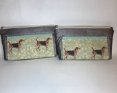 Zipper pouch with front zip pocket, foxhunt hounds, metallic rose grey soft faux leather,  Double zipper clutch