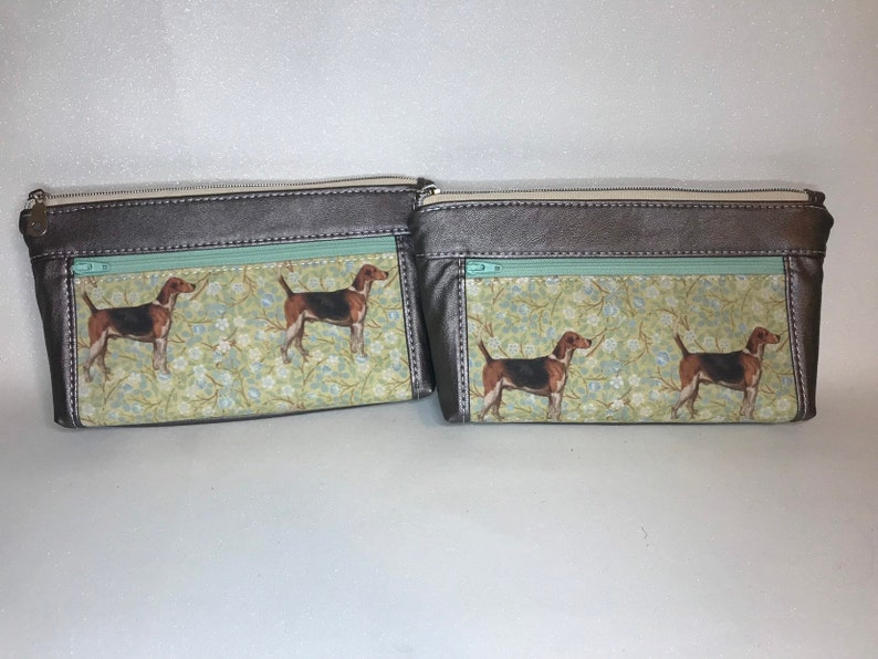 Zipper pouch with front zip pocket foxhunt hounds metallic image 0