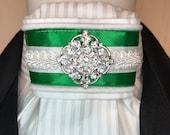 Green Satin Ribbon white trim on White on White print Stock Tie Pin Incld, Dressage Stock Tie, Eventing Stock Tie