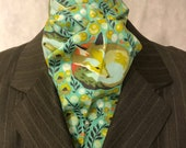 Four Fold Stock Tie, Foxhunting Traditional Stock Tie, Horse Show Stock Tie, Napping Fox Mint Green Designer Cotton Fabric