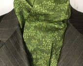 Four Fold Stock Tie, Foxhunting Traditional Stock Tie, Horse Show Stock Tie, Dark Green w Leaves and metallic Copper, High Quality Cotton
