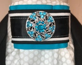 Bright Aqua with Black and White trim on White on White print Stock Tie Pin Incld, Dressage Stock Tie, Eventing Stock Tie