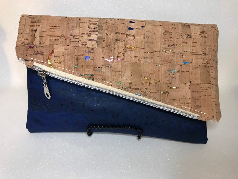 Cork foldover clutch dark blue cork and natural cork with image 0