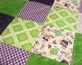 Modern Baby Quilt, Purple and Green Owls Quilt with Green Thread, Gender Neutral Quilt, Crib Quilt, Homemade Quilt, Nursery Handmade