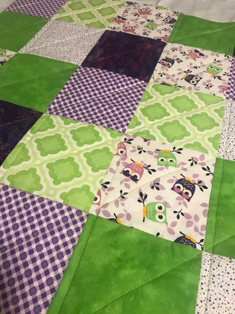 Modern Baby Quilt Purple and Green Owls Quilt with Green image 0
