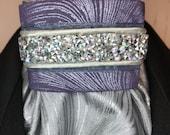 AB and Purple Metallic with Grey Trim, Silver Grey Metallic Cotton Stock Tie, Dressage Stock Tie, Eventing Stock Tie