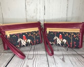 Wristlet purse with front zip pocket, double zipper pouch, foxhunt scene with hounds, pink fuscia snakeskin soft faux leather, clutch purse