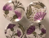 Fabric and Glass Magnet - Purple Thistles with metallic gold details - set of four 1 1/8th inch diameter