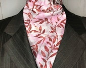 71 inch Four Fold Stock Tie, Foxhunting Traditional Stock Tie, Horse Show Stock, Deep Red Leaves on Mottled Grey/Pink, High Quality Cotton