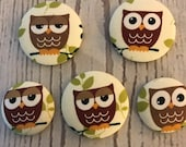 SET OF FIVE Fabric covered button magnets - cute brown owl magnets two 1 1/8 inch diameter and three 1 7/8 inch diameter