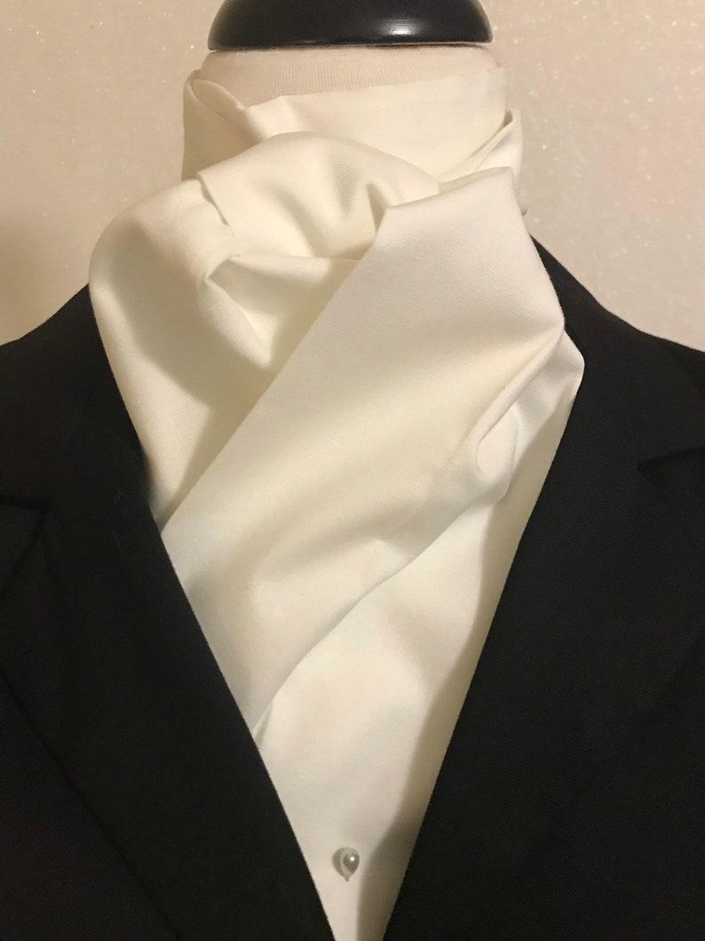 SOFT OFF WHITE Four Fold Stock Tie Formal White Stock Tie image 0