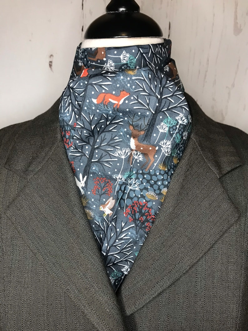 Four Fold Stock Tie Foxhunting Traditional Stock Tie Horse Show Unique and Fun!! BLUE winter woodland scene