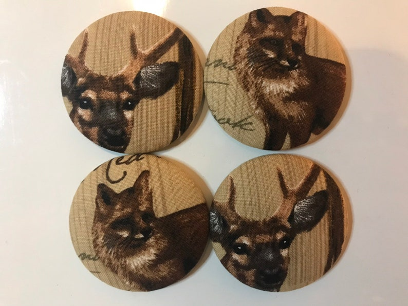 SET OF FOUR Fabric covered button magnets  fox and deer image 0