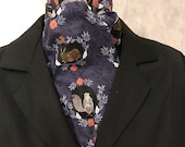 Four Fold Stock Tie, Foxhunting Traditional Stock Tie, Woodland Owl Fox Rabbit Raccoon Squirrel on Navy, Horse Show Stock Tie