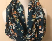 Infinity Scarf, Art Gallery Modern Floral on Teal, Designer Voile lovely soft fabric