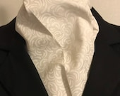 78 inch Four Fold Stock Tie, Formal White Stock Tie, Traditional Foxhunting Stock Tie, White on OFF WHITE Chunky Swirls